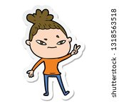 sticker of a cartoon woman | Shutterstock .eps vector #1318563518