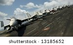 Navy F 18 Fighters  Sit On The...