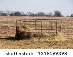 Old Metal Round Bale Hay Feeder ...