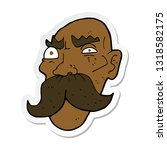 sticker of a cartoon angry old... | Shutterstock .eps vector #1318582175