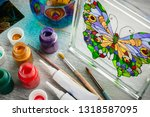 artisan painting with stained... | Shutterstock . vector #1318587095