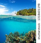 under and above water surface... | Shutterstock . vector #1318601198