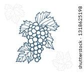 grape. hand drawn grape and... | Shutterstock .eps vector #1318625198