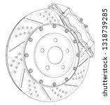 brake disc outline. vector... | Shutterstock .eps vector #1318739285