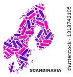 mosaic scandinavia map isolated ... | Shutterstock .eps vector #1318742105