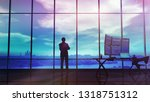 silhouette of a trader in the... | Shutterstock . vector #1318751312