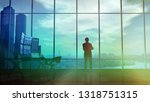 silhouette of a trader in the... | Shutterstock . vector #1318751315