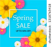 spring sale banner with... | Shutterstock .eps vector #1318765418