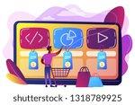 customer with shopping cart...   Shutterstock .eps vector #1318789925