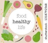 vector design with veggie and... | Shutterstock .eps vector #1318792568