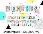 memphis font and alphabet.... | Shutterstock .eps vector #1318808792