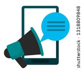 smartphone and bullhorn with... | Shutterstock .eps vector #1318809848