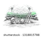 cricket stadium view with... | Shutterstock .eps vector #1318815788