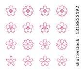 sakura cherry blossoms icon set | Shutterstock .eps vector #1318823192