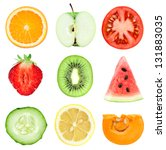 collection of fresh fruit and... | Shutterstock . vector #131883035