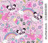 cute panda unicorn pattern on a ... | Shutterstock .eps vector #1318840385