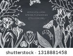 spring flowers and trees design.... | Shutterstock .eps vector #1318881458