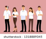 young people are listening to... | Shutterstock .eps vector #1318889345