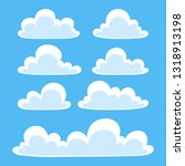 white flat clouds set in the... | Shutterstock .eps vector #1318913198
