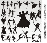 vector dance people silhouettes | Shutterstock .eps vector #131891822