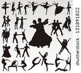vector dance people silhouettes | Shutterstock .eps vector #131891822