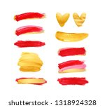 set of gold and red strokes... | Shutterstock . vector #1318924328