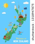 flat design   new zealand's map ... | Shutterstock .eps vector #1318947875