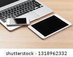 open laptop with digital tablet ... | Shutterstock . vector #1318962332