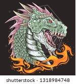 dragon head vector | Shutterstock .eps vector #1318984748