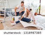 young couple is having fun at...   Shutterstock . vector #1318987385