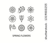 spring flowers flat line icons... | Shutterstock .eps vector #1319003255