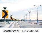 Curve road sign  signal turn...