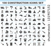100 construction icons set ... | Shutterstock .eps vector #131907152