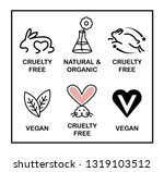 Set of 6 icons-badges: Vegan, Cruelty Free, Organic and Natural. Black and white.