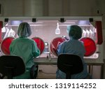 scientists working in safety... | Shutterstock . vector #1319114252