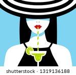 beautiful woman drinks cocktail....   Shutterstock .eps vector #1319136188