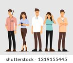young people are listening to... | Shutterstock .eps vector #1319155445