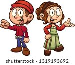 cartoon medieval boy and girl... | Shutterstock .eps vector #1319193692