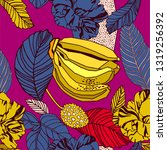 tropical exotic print  bright... | Shutterstock .eps vector #1319256392
