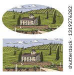 rural landscape with villa ... | Shutterstock .eps vector #1319276282