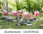 group  of woman stretching ... | Shutterstock . vector #131929316