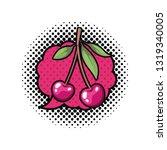 cherry fruit with speech bubble ... | Shutterstock .eps vector #1319340005