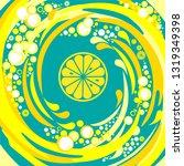 single cross section of lemon.... | Shutterstock .eps vector #1319349398