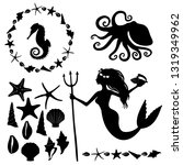 set of marine life silhouettes  ... | Shutterstock . vector #1319349962