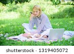 business lady freelance work... | Shutterstock . vector #1319405072