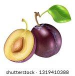 realistic plum fruit vector | Shutterstock .eps vector #1319410388