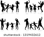 happy family. dancing... | Shutterstock .eps vector #1319432612