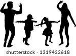 happy family. dancing... | Shutterstock .eps vector #1319432618