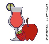 apple and strawberry natural... | Shutterstock .eps vector #1319448695