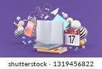 the book is surrounded by music ...   Shutterstock . vector #1319456822